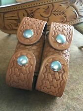 Vintage Tex Shoemaker UD L Brown Basketweave 4 Speed Loader Holder K Frame