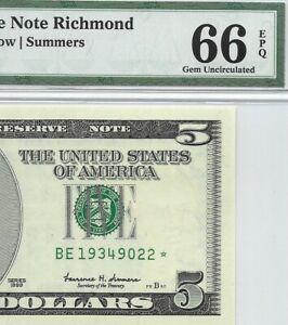 1999 $5 RICHMOND * STAR * 🌟 FRN, PMG GEM UNCIRCULATED 66 EPQ BANKNOTE