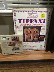Vintage Whitney Tiffani Wood Dollhouse Kit No 22 New & Greenleaf 30 pc Furniture