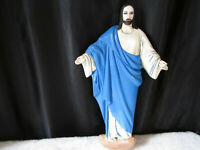 "VINTAGE 18"" CERAMIC  JESUS STATUE FIGURE WALL HANGER HAND PAINTED OPEN ARMS 1970"