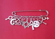 COEXIST 9 LOOP KILT SAFETY PIN BROOCH all live together in peace and harmony