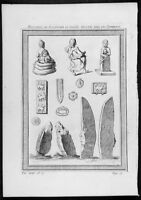 1755 Prevost Antique Print Statues Carvings, Tombs Tartary Primorsky Krai Russia