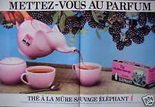PUBLICITÉ 1981 ÉLÉPHANT THÉ A LA MÛRE SAUVAGE - ADVERTISING