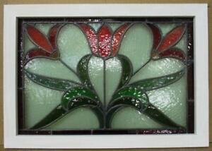 "MIDSIZE OLD ENGLISH LEADED STAINED GLASS WINDOW.Stunning Flower 28.75"" x 20.25"""