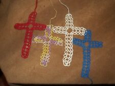 Vintage Tatted Cross Bible Book Marks Set of 4 Lot #2