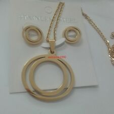 Lot 5 sets Bulk Stainless steel Gold Round Style Pendant Necklace & Earring Set