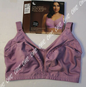 M&S COLLECTION TOTAL SUPPORT EMBROIDERED NON WIRED FULL CUP BRA BNWT PALE MAUVE