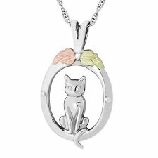 Black Hills Gold cat pendant womens .925 sterling silver 18 inch necklace