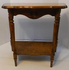 VINTAGE WOOD 2 TIER HALF ROUND 4 LEGGED DECORATIVE ACCENT TABLE