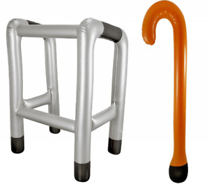 INFLATABLE BLOW UP ZIMMER FRAME AND WALKING STICK NOVELTY PRESENT JOKE XMAS
