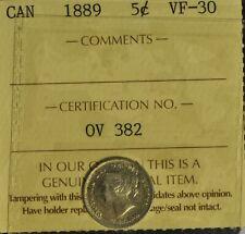 Canada 1889 5 Cent Piece - ICCS -- VF30 -