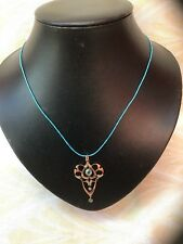 ANTIQUE ART NOUVEAU 9CT GOLD & Blue Topaz & Seed Pearls Pendant Necklace