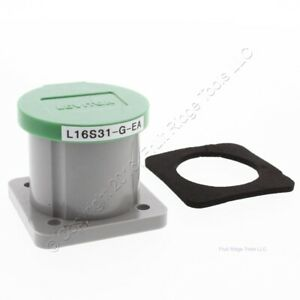 New Leviton 16 Series Green Panel Mount Housing Automatic Closing Lid 16S31-G