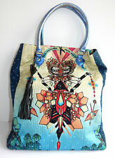 Manish Arora Gorgeous Intricate Beaded Indian Design Leather Handles Tote Bag