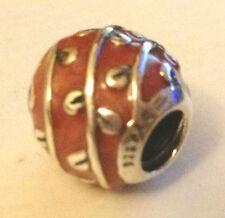 GENUINE PANDORA RETIRED Silver Red Enamel Vines Leaves Charm 790525EN17