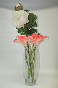 Elegant Tall Glass Vase with Pink Lilies and Ivory Peony Stem - Home Decoration