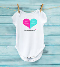 50 percent Mommy 50 percent Daddy 100 percent Perfect, Baby Onesie, Baby Shower