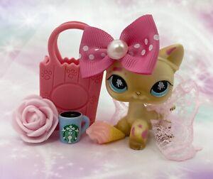Authentic Littlest Pet Shop # 816 Cream Tan Pink Splatter Cat Blue Eyes