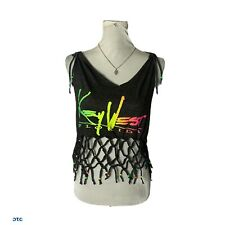 Vintage Key West Distressed, Macramed and Beaded One of a Kind Tank Top