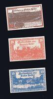 3x Notgeld 10,20,50 Heller Gutschein  Gemeinde MANNERSDORF Oesterreich  1920
