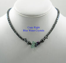 HEMATITE & FLUORITE CHIPS Beaded Necklace Crystal Healing Gemstones Beads E18