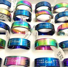 50x English SERENITY PRAYER Stainless steel Wedding Rings Wholesale Men Jewelry