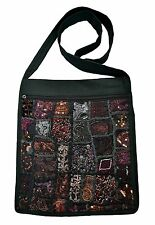 JORDASH  EMBROIDERED RECYCLED SARI PATCHWORK COTTON SHOULDER MESSENGER BAG BLACK