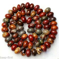 Real 5x8mm Natural Mix colour Picasso Gemstone Abacus Loose Beads 15'' AAA