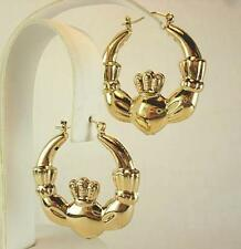 18K Gold Plated Claddagh Hoop Earrings - LIFETIME WARRANTY