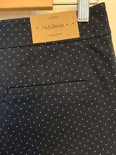 LL Bean Navy Polka Dot Side Zip Ankle Stretch Pant Women's 10 Petite NWT