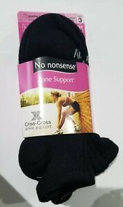 No nonsense Women's Zone Cushioned Ankle Support Quarter Top Socks 3 Black NEW