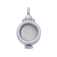 Sterling Silver Petite Round Floating Glass Locket Pendant 12mm