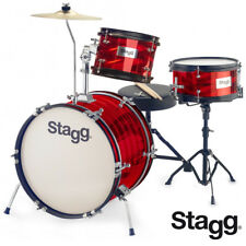 "Stagg TIM-316JR 16"" Retro Style Kids Drum Set - RED + Sticks, Cymbals and Throne"