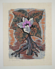 Fleurs Arbre LITHOGRAPHIE Signee PH. MAKEDONSKY Gravure 34/40 INFOLIO
