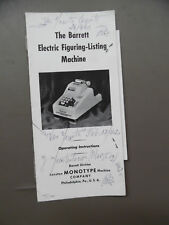 c.1942 Barrett Figuring Machine Adding Machine Manual Lanston Monotype Vintage