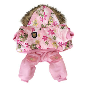 New Hooded Flower Pattern Pet Dog Warm Jacket Winter Coat Small Puppy Clothing