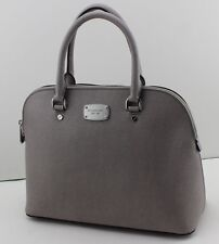 NEW AUTHENTIC MICHAEL KORS CINDY PEARL GREY HANDBAG LG LARGE DOME SATCHEL WOMENS