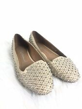 Womens Jeffrey Campbell Martini Spiked Tan Flats Loafers Silver Spikes Size 9