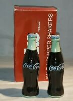 """Vintage Coca Cola Salt and Pepper Shakers Ceramic Bottles 5 1/2"""" with Box 1993"""