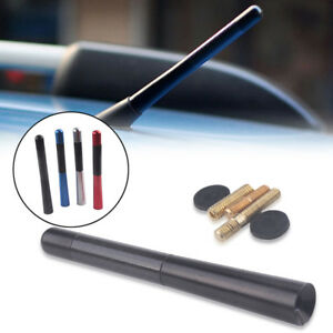 4.7inches Universal Car Antenna Carbon Fiber Radio FM Antena Black Kit + Screw