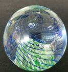 Art Glass Paperweight Controlled Bubbles Ribbons And Spiraled Mint