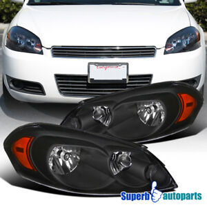 For 2006-2013 Chevy Impala 14-15 Limited  06-07 Monte Carlo Black Headlight Lamp