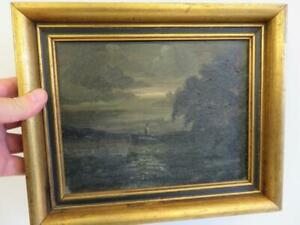 really old PAINTING oil EVENING seascape