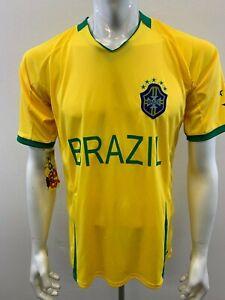 Zone 26 Men's One Size Brazil Soccer REPLICA Gold Green Football Jersey