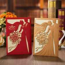 Hollow Laser Cut Bride And Groom Elegant Wedding Invitation Cards With Envelopes