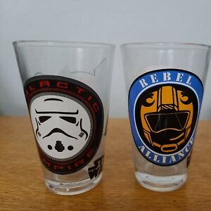 Star Wars 16oz Pint Glasses - Rebel & Empire Symbols - 2 Set