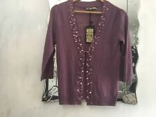 BIBA SIZE 10 MULBERRY EMBELLISED CARDIGAN NEW WITH TAGS RRP £85
