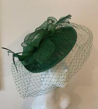 Emerald Green Fascinator Hat Hatinator with Veil Headband Wedding