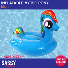Inflatable Pony Blue Kids Giant Blow Up Pool Toy Rideable Floatie Float Lounge