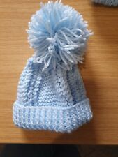 Small Light Blue Knitted Bobble Wool Hat